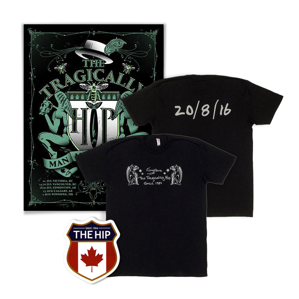 Unisex 2016 Kingston Event T-Shirt & Poster with Crest Sticker Bundle
