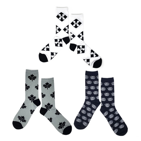 The HIP  Custom Jacquard Knit Socks - Repeat Logo Bundle