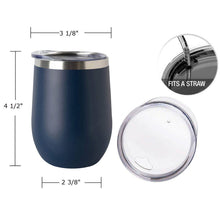 Load image into Gallery viewer, 12 oz Insulated Stainless Steel Wine Tumbler Mug With Sip Lid