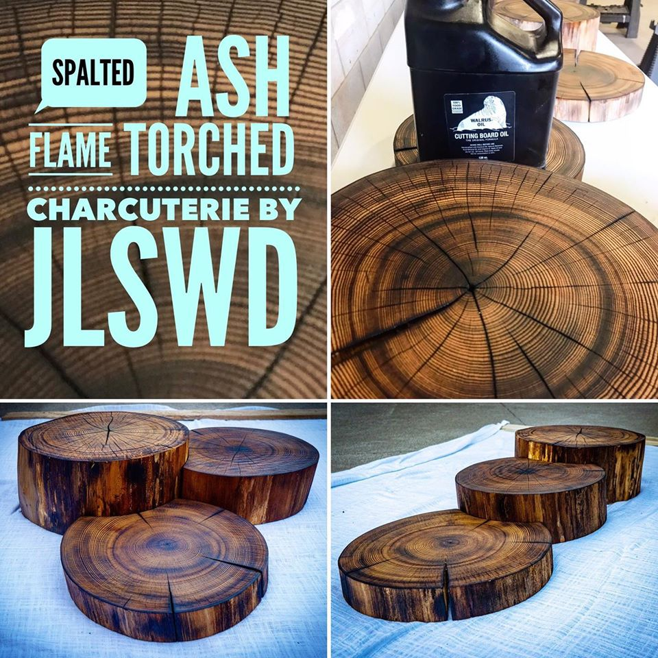 Ash flame torched charcuterie board