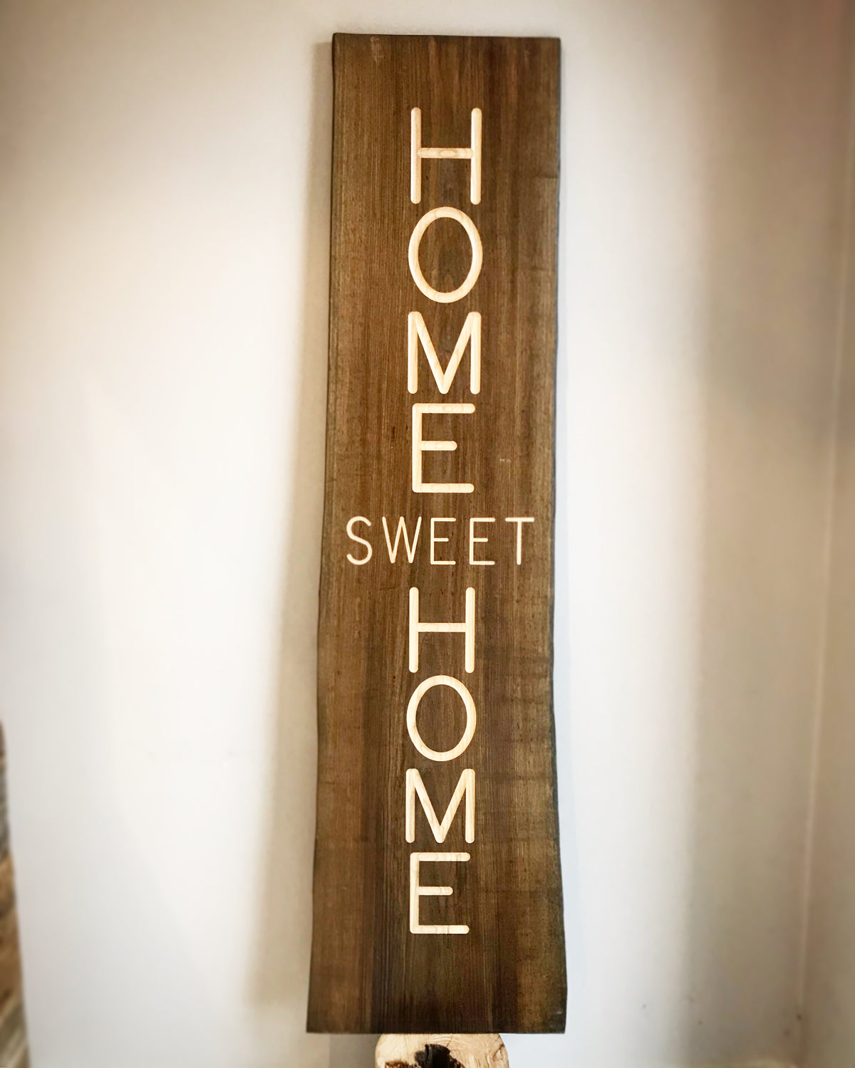 Home Sweet Home Sign : Classic Collection : Engraved in Ash Wood : Vertical