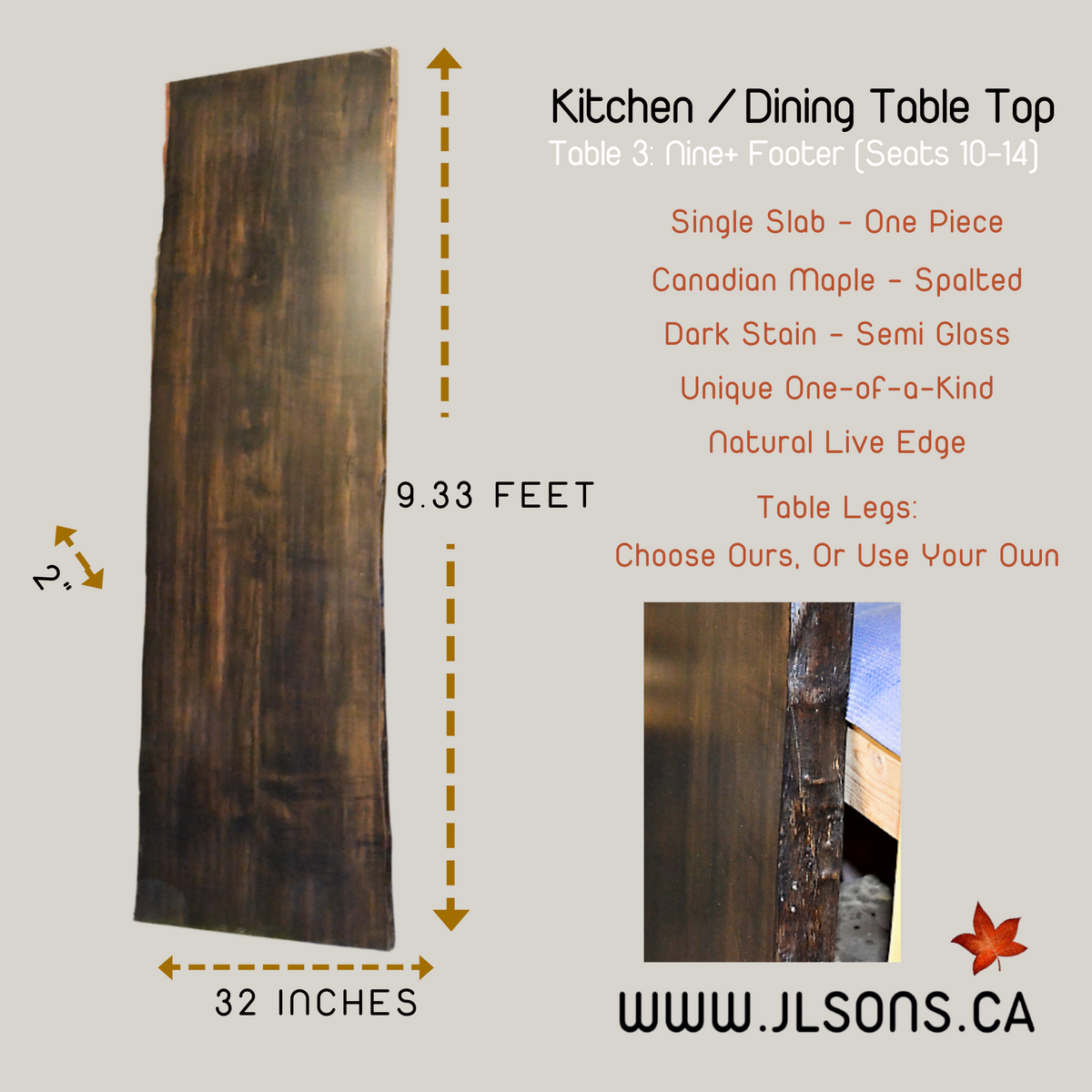 "Copy of Maple Kitchen / Dining Table Top: 32"" x 112"" x 2"" Spalted, Canadian Solid One Piece Slab"