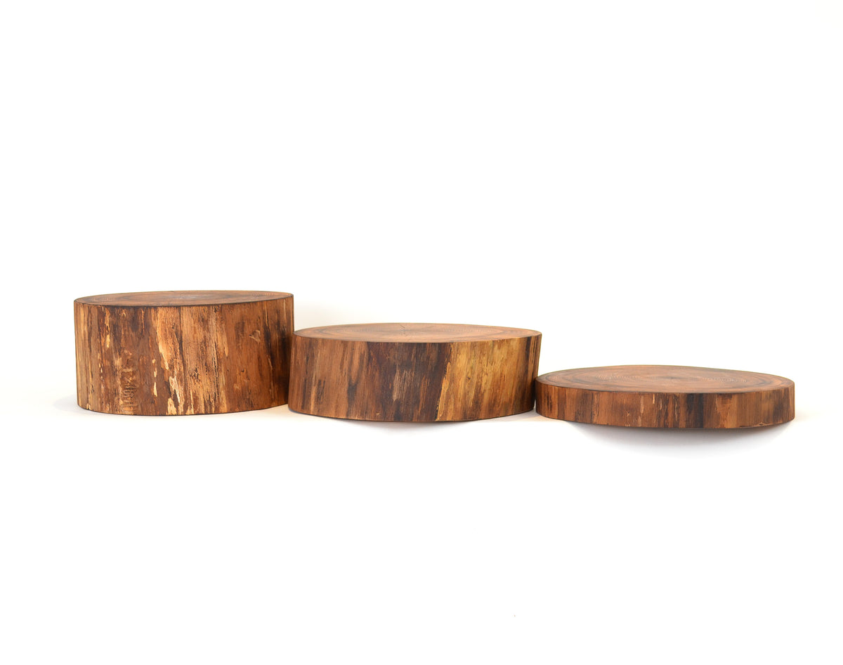 Ash - Flame Torched Serving Board Set of Three: 2, 4 and 6 inches
