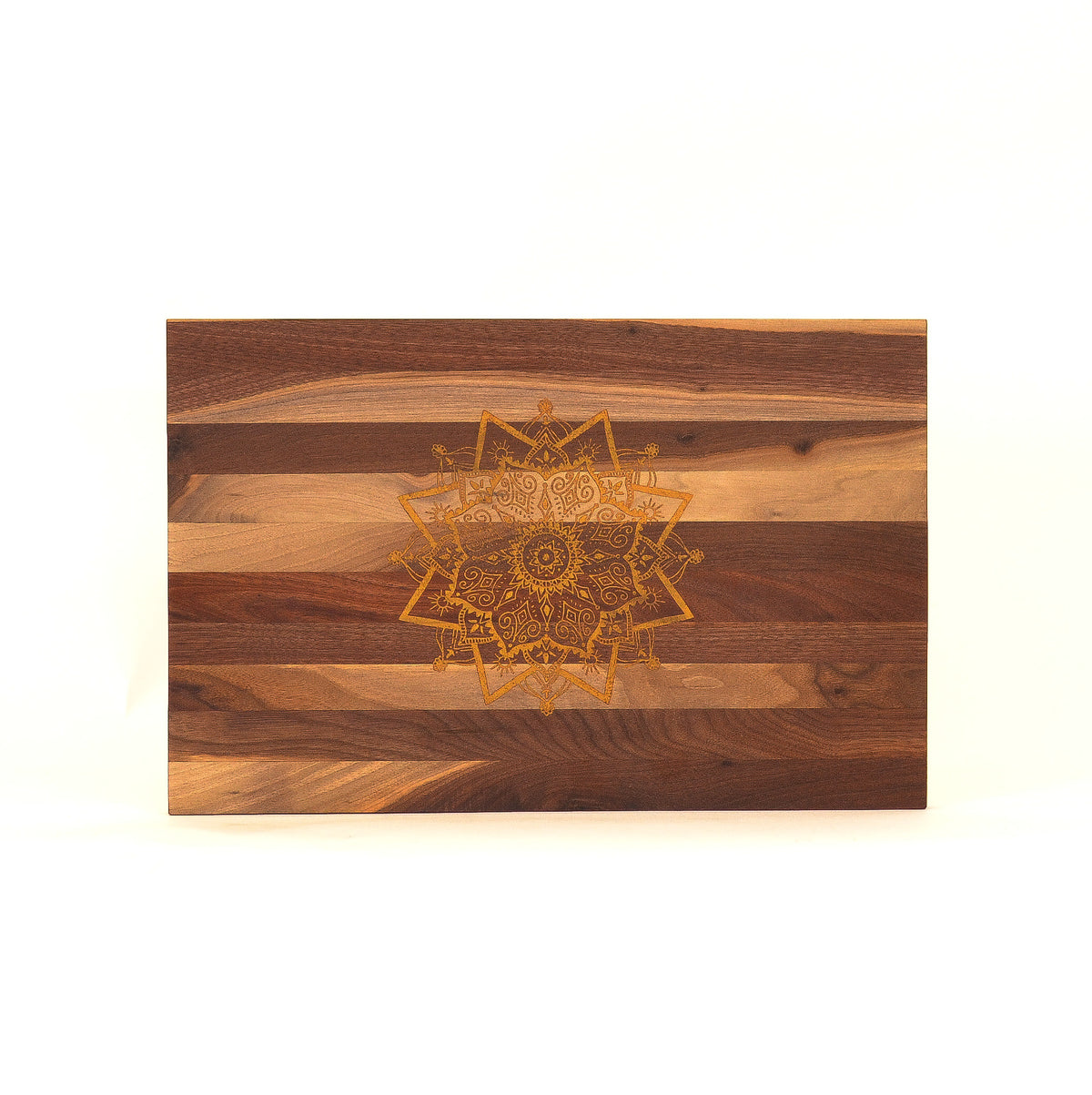 Balance: Elisha G x JL Sons:   Walnut Repurposed Serving Board with Engraved Mandala in Gold