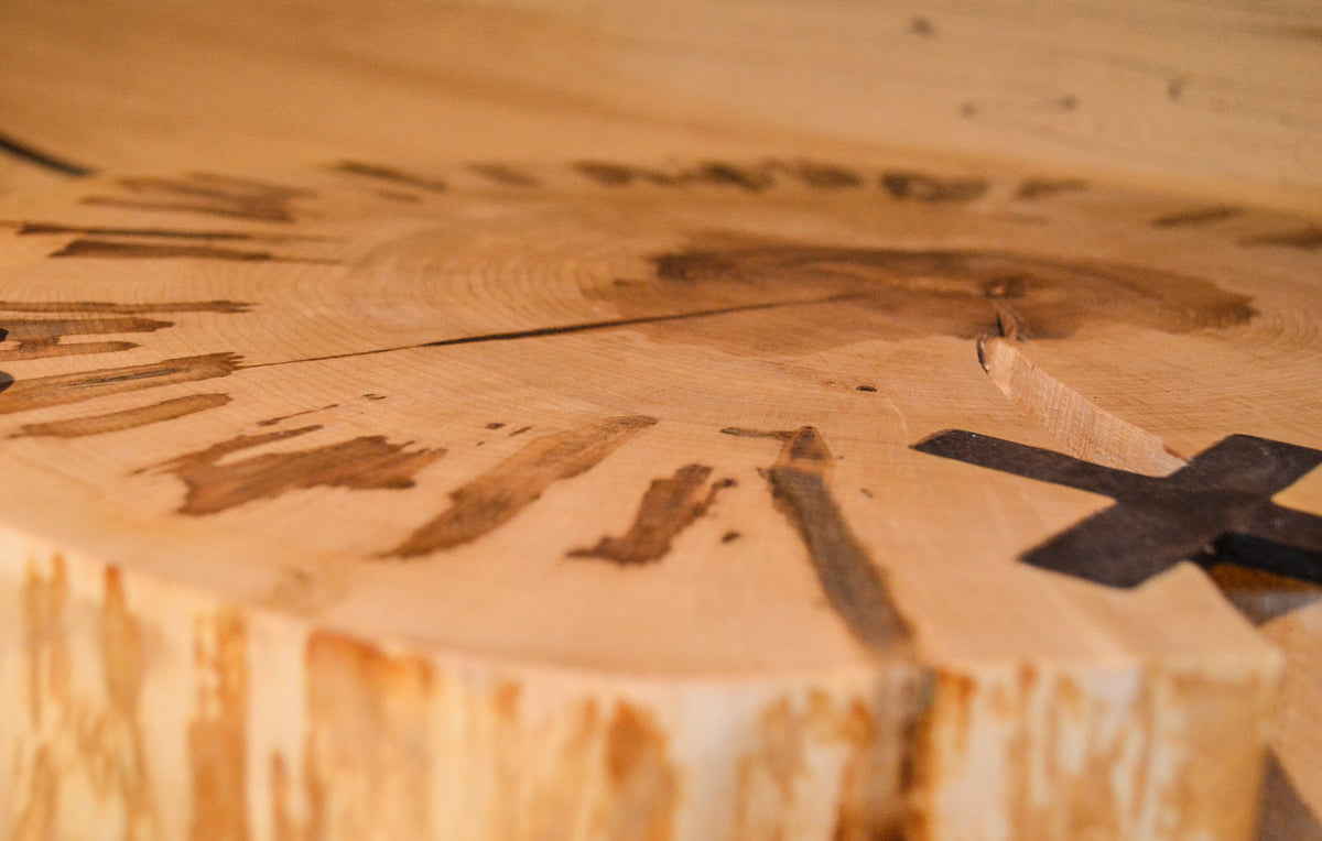 Sugar Maple:  Coffee : Side Table Top: Unique with Maple Sap Harvesting Marks