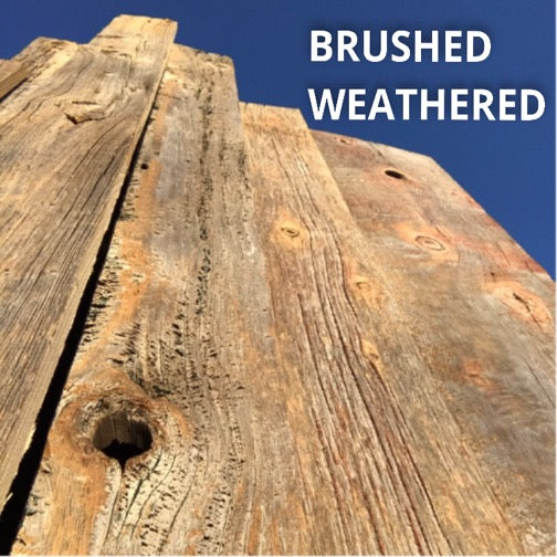 Barn Wood Wall Paneling: Brushed Weathered Board  - Installation Available