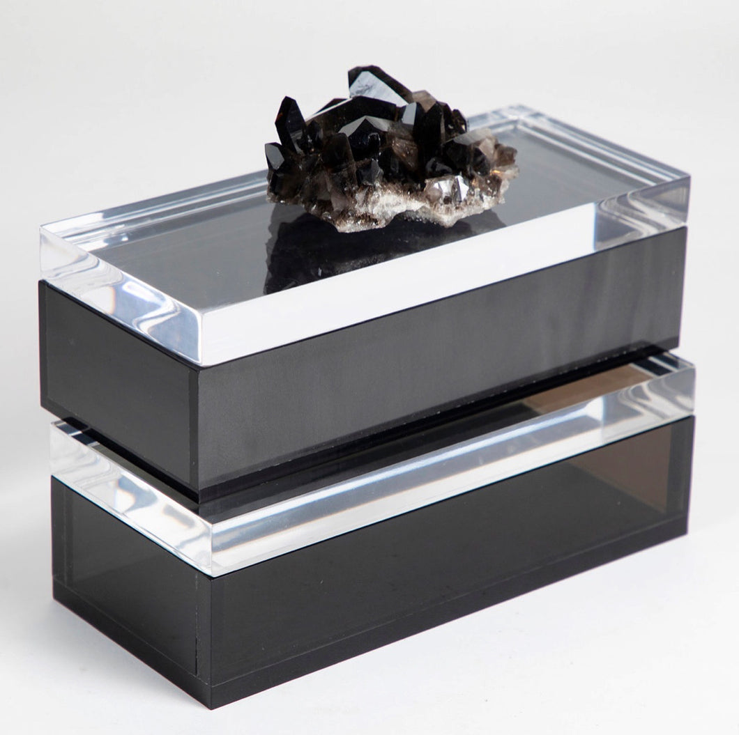 SMOKY BLACK LUMINOUS ACRYLIC MARBLE BOX