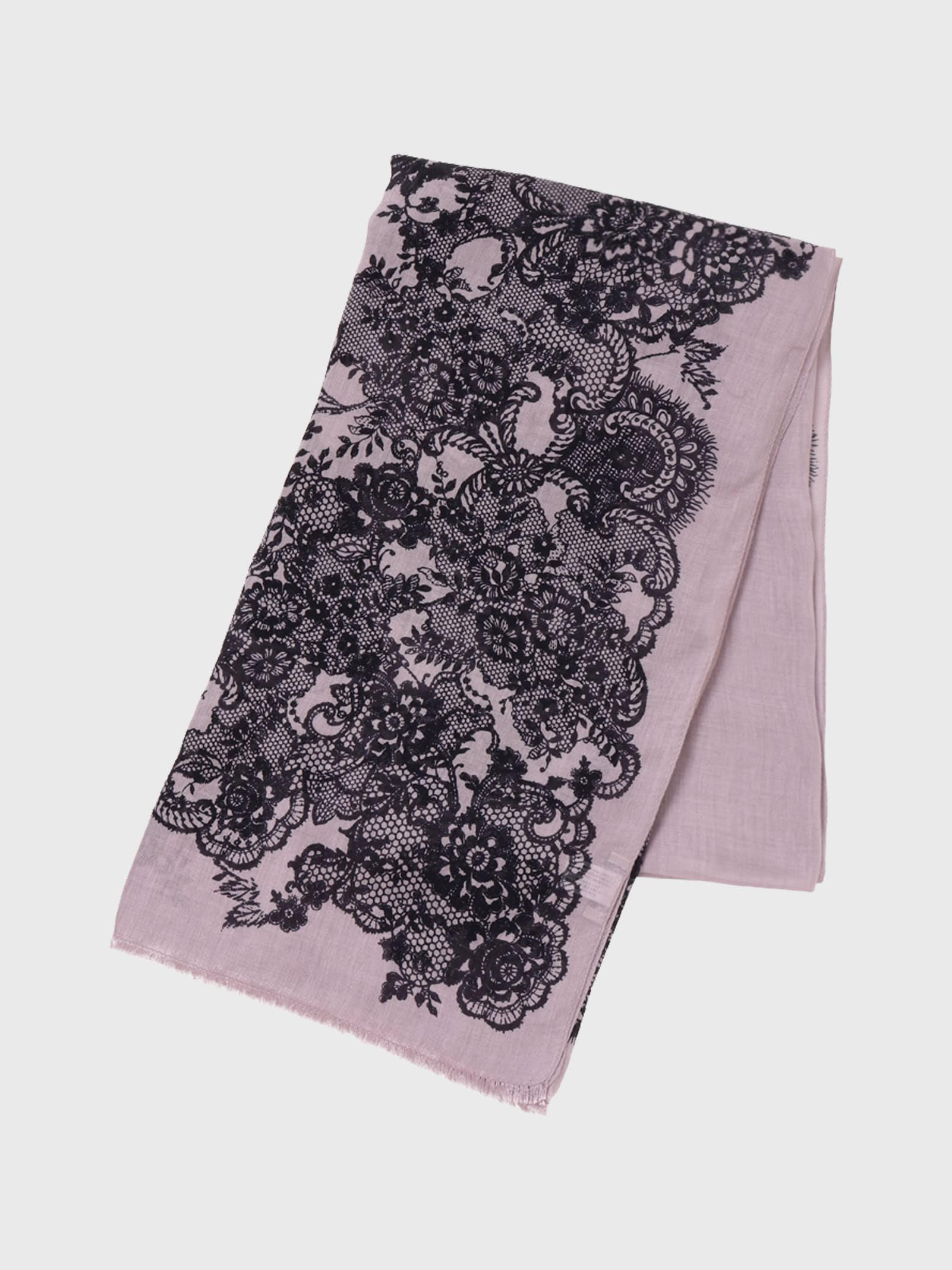 LACE WOOL PRINT SCARF