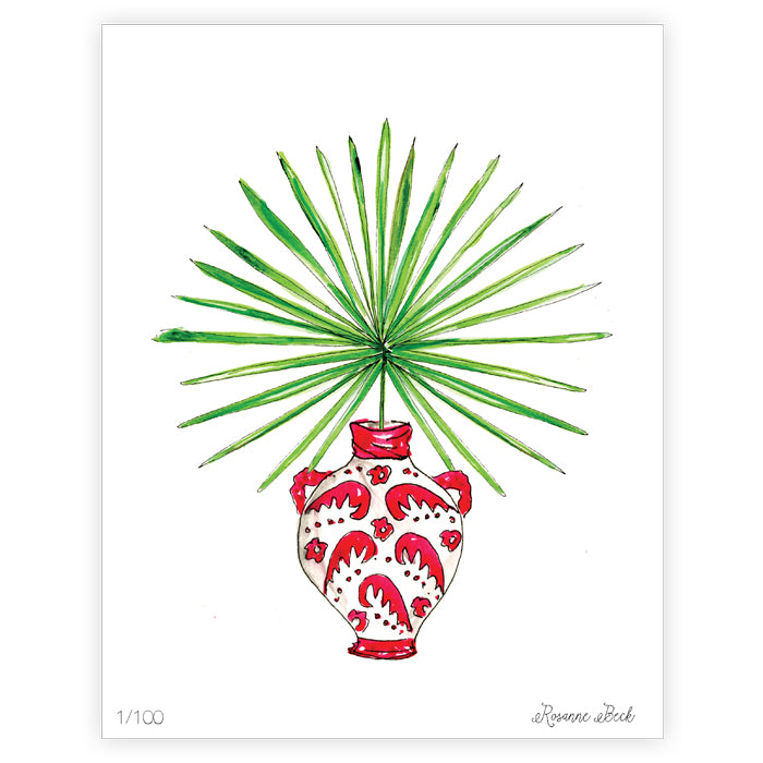 Potted Palm Pink Watercolor Art Print