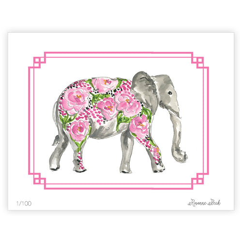 Pink Elephant Watercolor Art Print