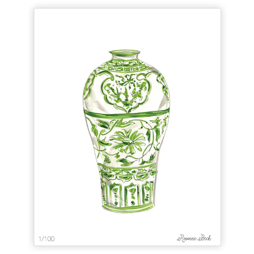 Green Tall Neck Urn Watercolor Art Print