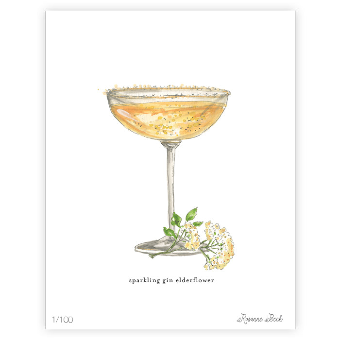 Sparkling Gin Elderflower Watercolor Art Print
