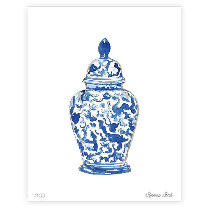 Handpainted Blue Chinoiserie Vase Art Print