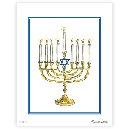 Happy Hanukkah Menorah Gold Art Print