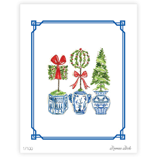 Holiday Topiary Trio Art Print