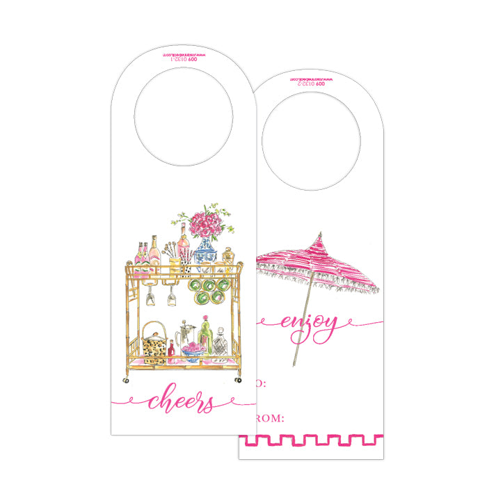 Champagne Bar Cart-Pink Umbrella Wine Tag