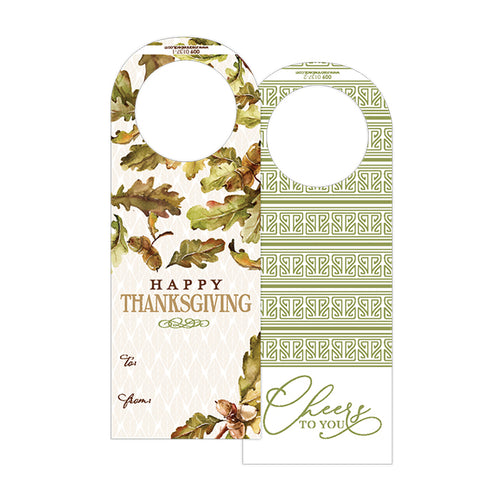 Happy Thanksgiving Acorn and Leaves Wine Tag