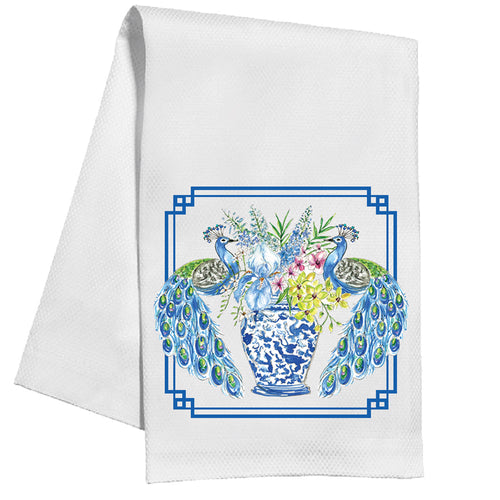 Handpainted Peacocks Kitchen Towel