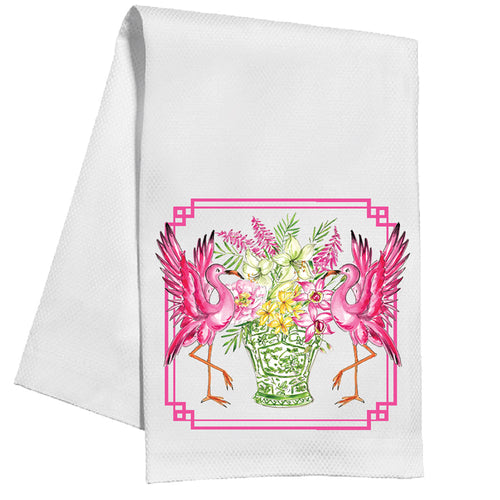 Handpainted Flamingos Kitchen Towel
