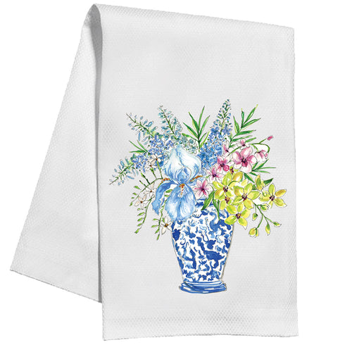 Handpainted Floral Blue Chinoiserie Vase Kitchen Towel