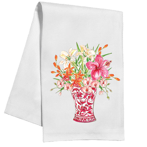 Handpainted Floral Red Chinoiserie Vase Kitchen Towel