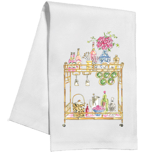 Handpainted Champagne Bar Cart Kitchen Towel