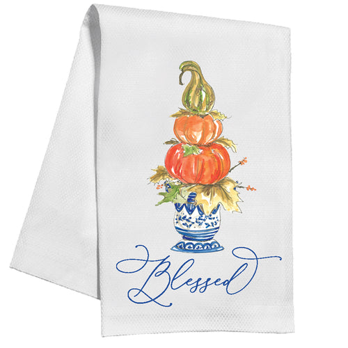 Blessed Double Pumpkin Topiary Kitchen Towel