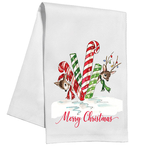 Merry Christmas Holiday Reindeer Kitchen Towel