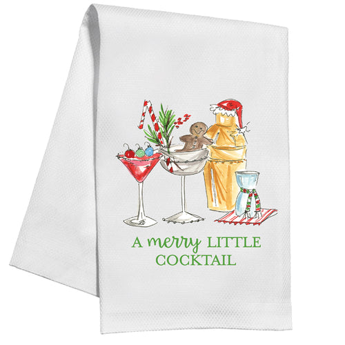 Holiday Cocktails Kitchen Towel