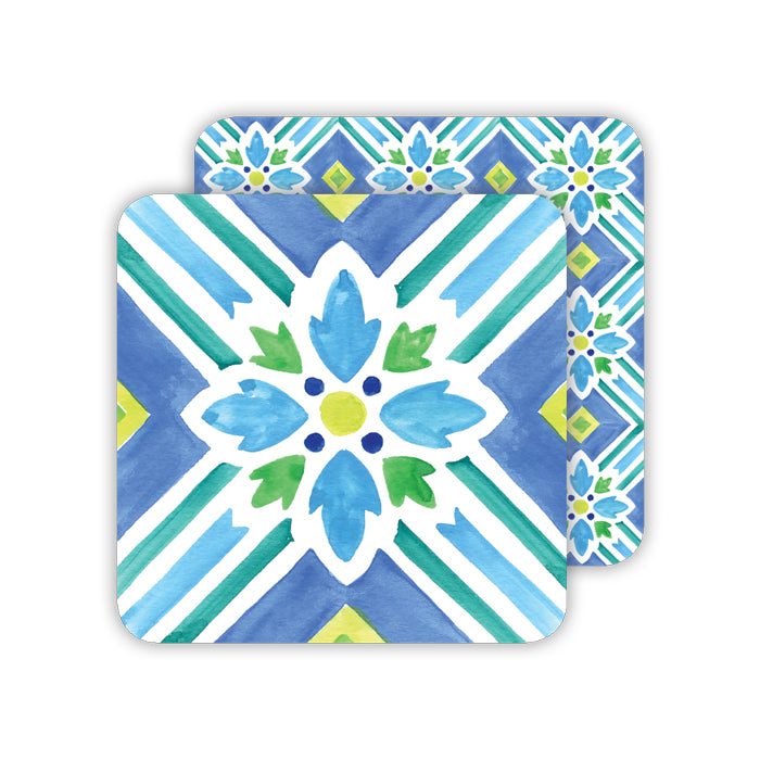Handpainted Tiles Blue and Green Paper Coaster