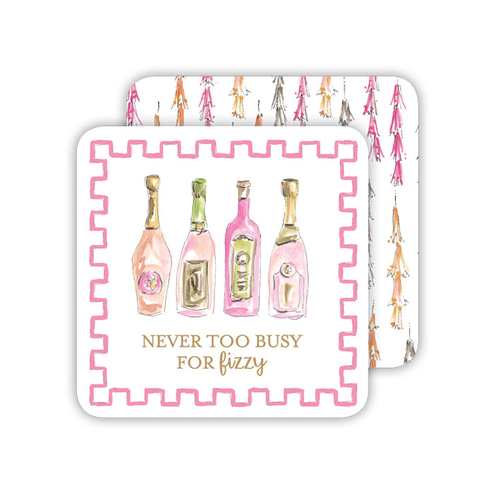Handpainted Never Too Busy For Fizzy Champagne Paper Coaster