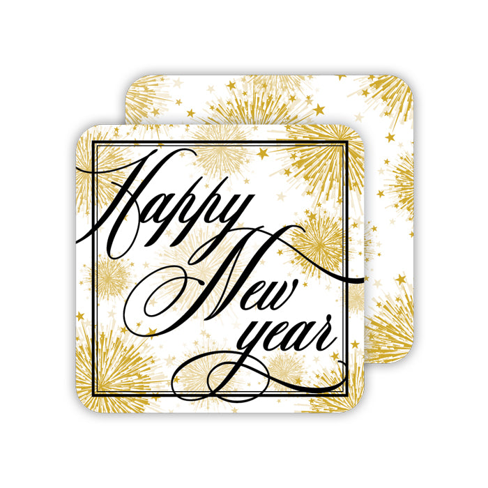 Happy New Year Gold-Gold Star Bursts Paper Coaster