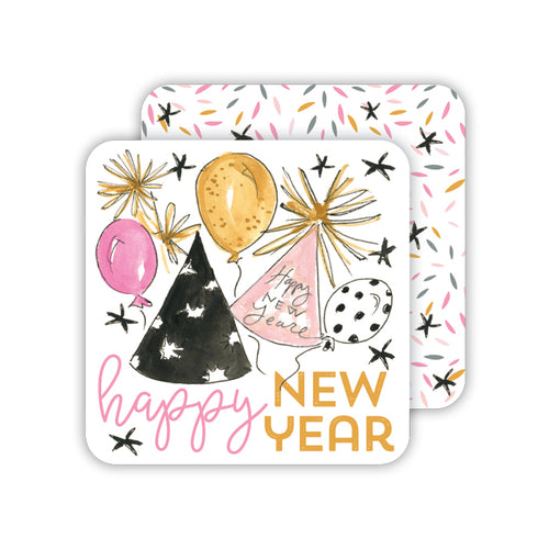 Happy New Year Party Hats-Confetti Stars Paper Coaster