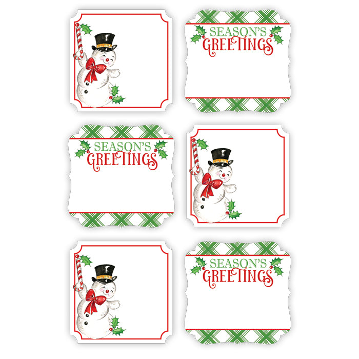 Seasons Greetings Snowman Green Plaid Die-Cut Sticker Sheet
