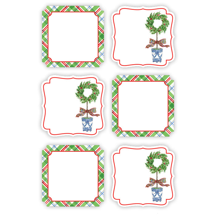 Multi Holiday Plaid and Holiday Topiary Wreath Die-Cut Sticker Sheet