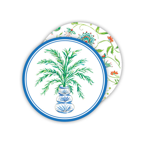 Potted Palm Blue Round Coasters