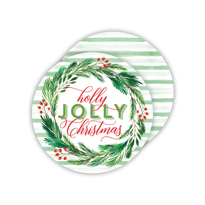 Holly Jolly Christmas Round Coaster