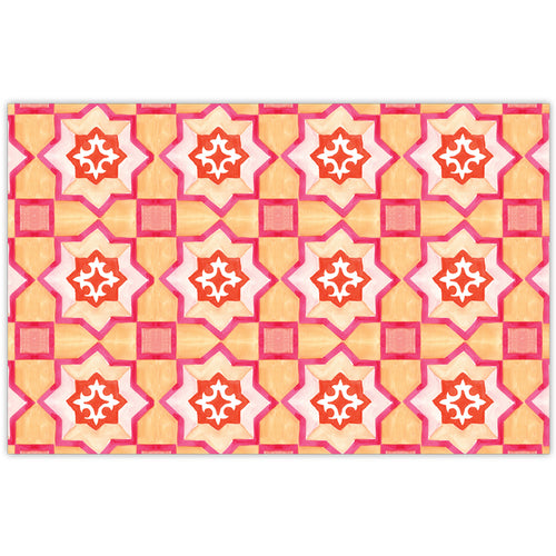 Handpainted Tiles Tangerine and Pink Placemat