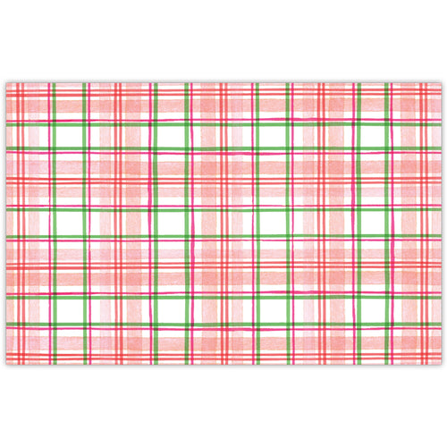 Red Yellow and Green Pastel Plaid Placemat