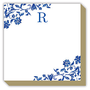 Blue and White Monogram R Luxe Notepad