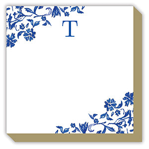Blue and White Monogram T Luxe Notepad