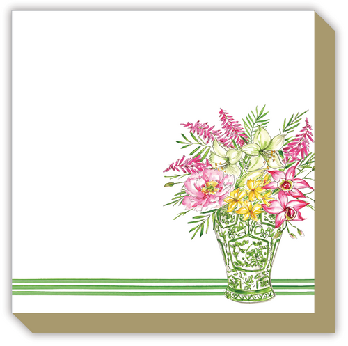 Green Chinoiserie Floral Vase Luxe Notepad