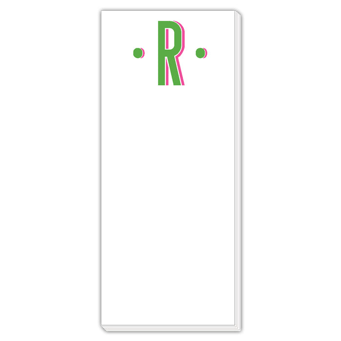 Color Block Monogram R Skinny Notepad