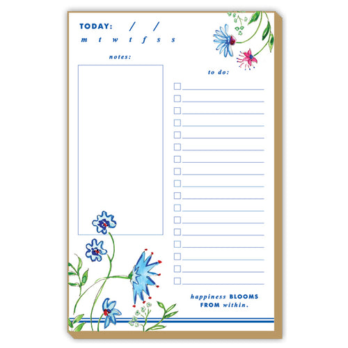 Mixed Floral Blue Large Luxe Notepad
