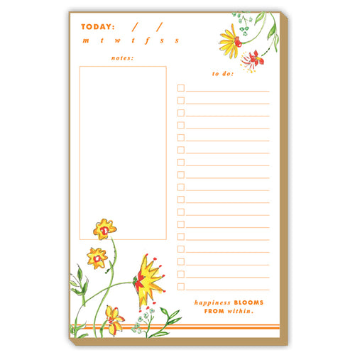 Mixed Floral Yellow Large Luxe Notepad