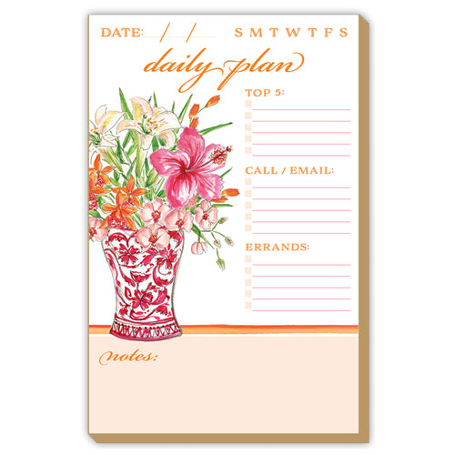Pink Chinoiserie Floral Vase Luxe Large Notepad