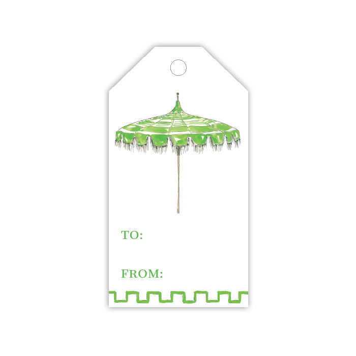 Green Umbrella Gift Tag