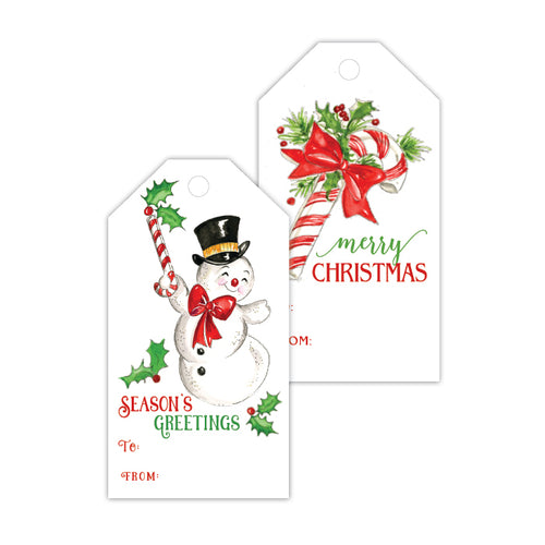 Seasons Greetings Snowman Gift Tag