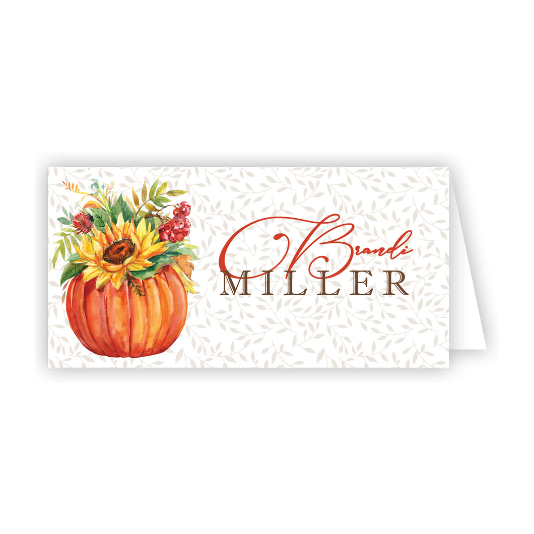 Floral Pumpkin Place Card