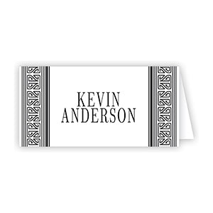 Asian Stripe Black Place Card
